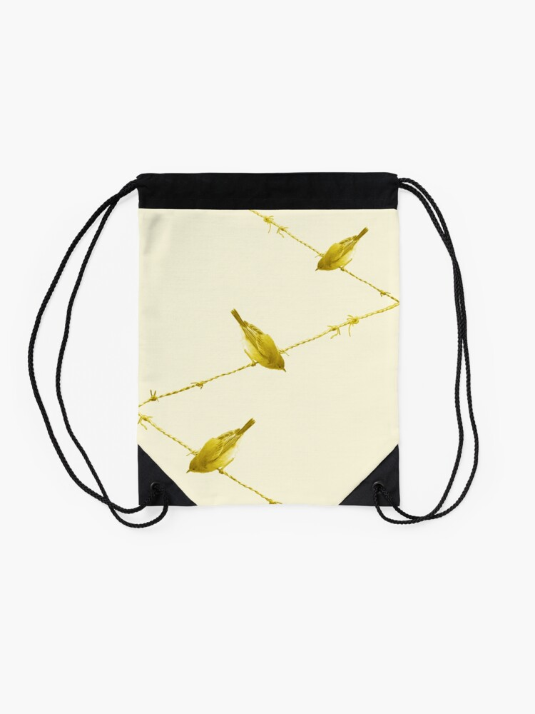 Alternate view of Monochrome - Yellow warblers on the wire Drawstring Bag
