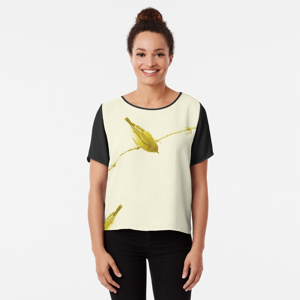 Monochrome - Yellow warblers on the wire Chiffon Top