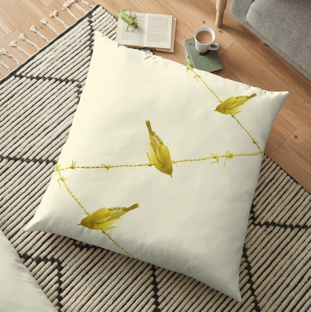 Monochrome - Yellow warblers on the wire Floor Pillow