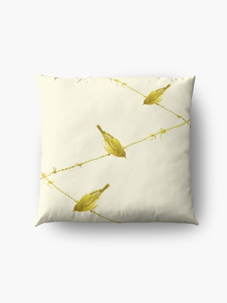 Alternate view of Monochrome - Yellow warblers on the wire Floor Pillow