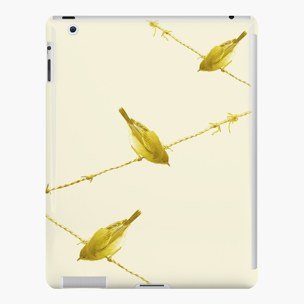 Monochrome - Yellow warblers on the wire iPad Case & Skin