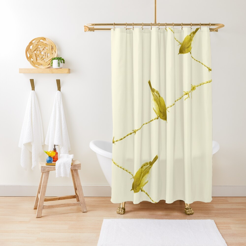 Monochrome - Yellow warblers on the wire Shower Curtain