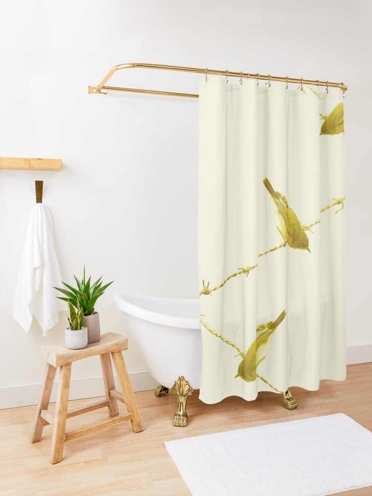 Alternate view of Monochrome - Yellow warblers on the wire Shower Curtain