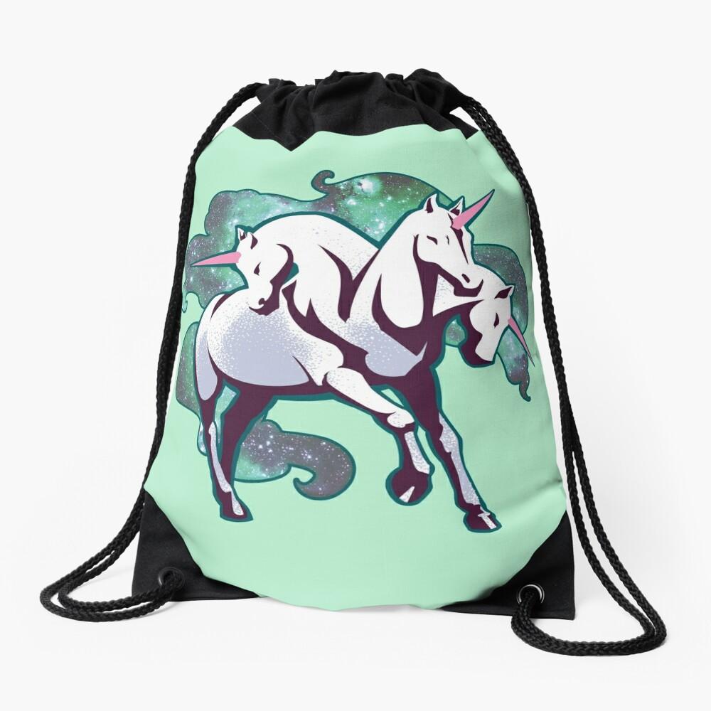 3 headed unicorn Drawstring Bag