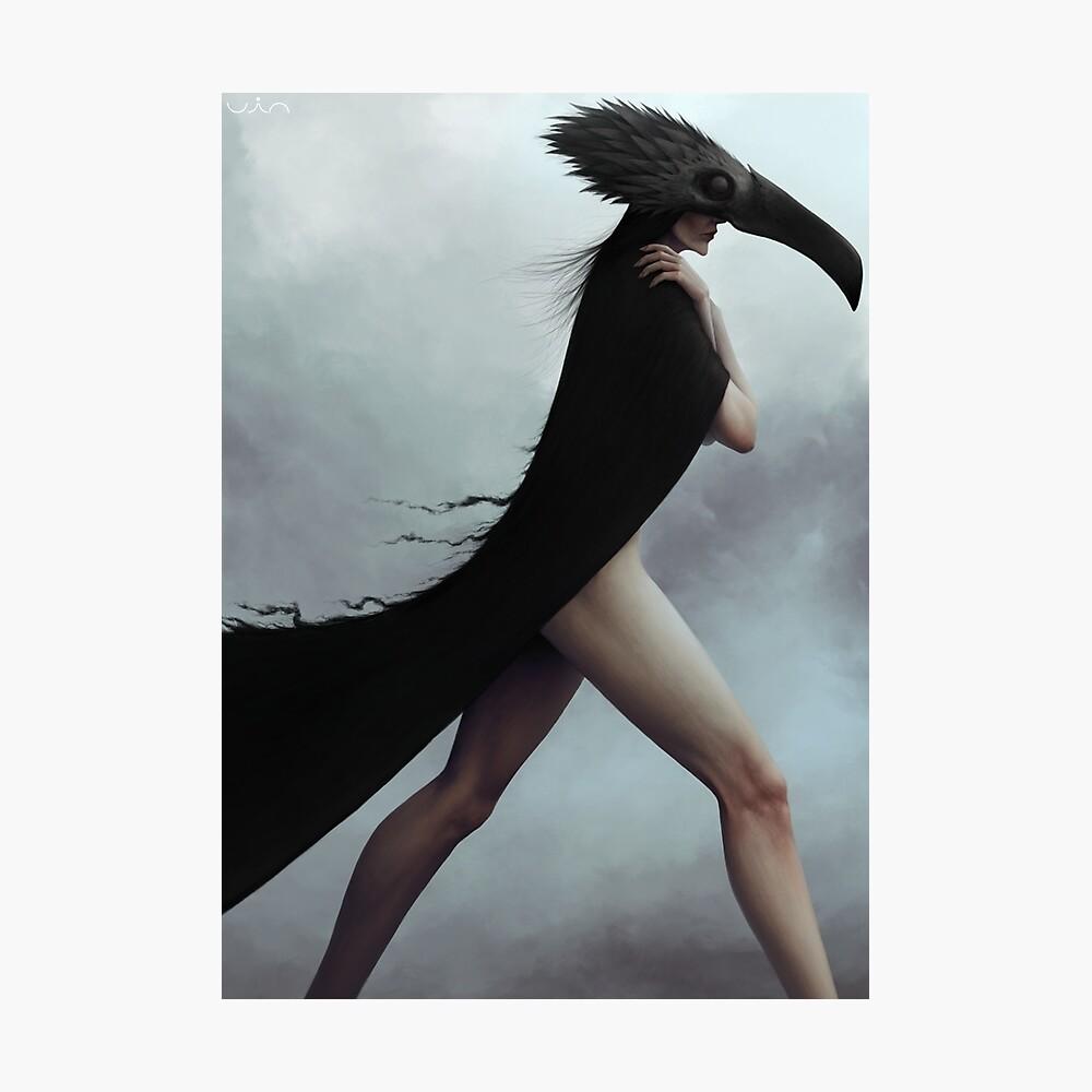 Dark noir crow illustration Photographic Print