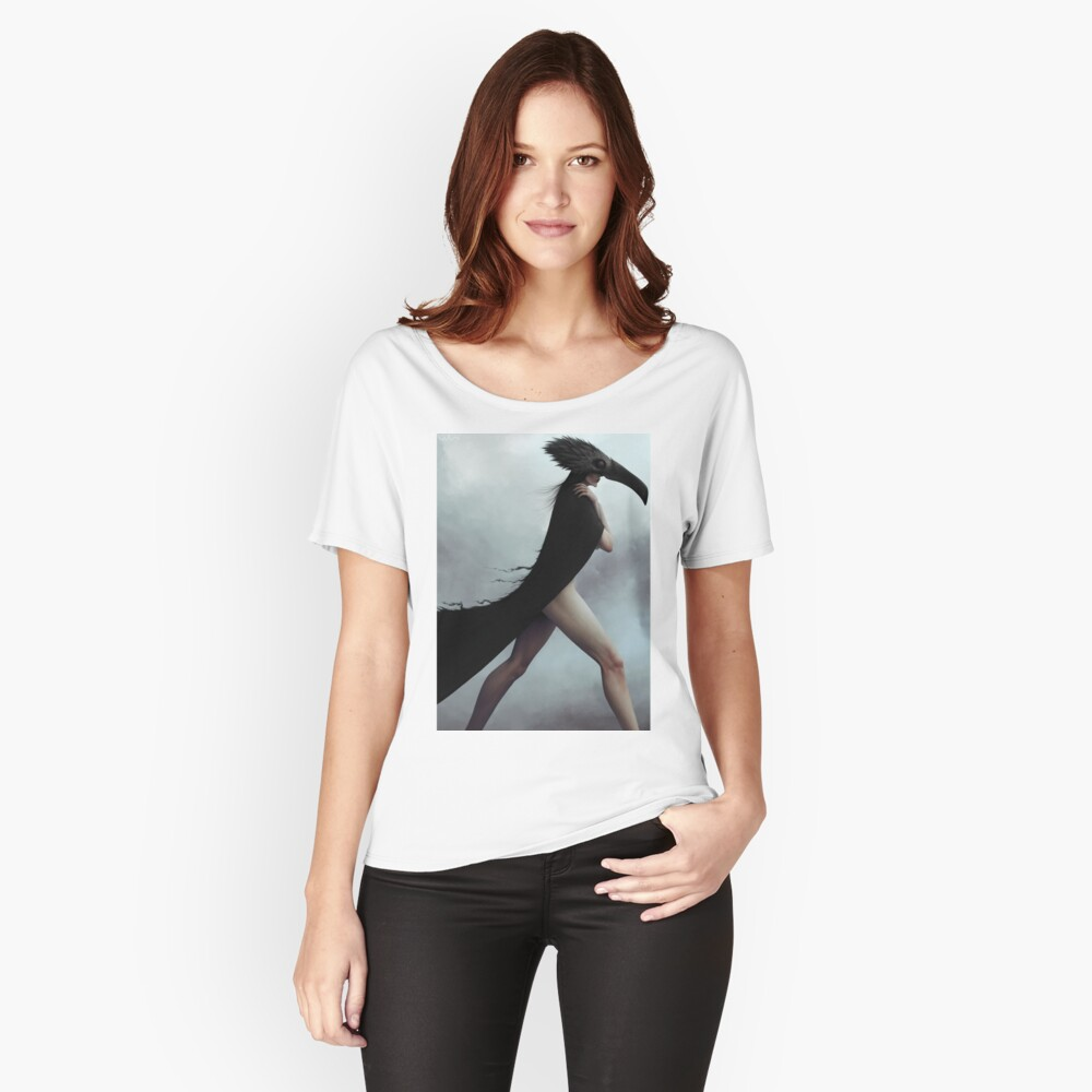 Dark noir crow illustration Relaxed Fit T-Shirt