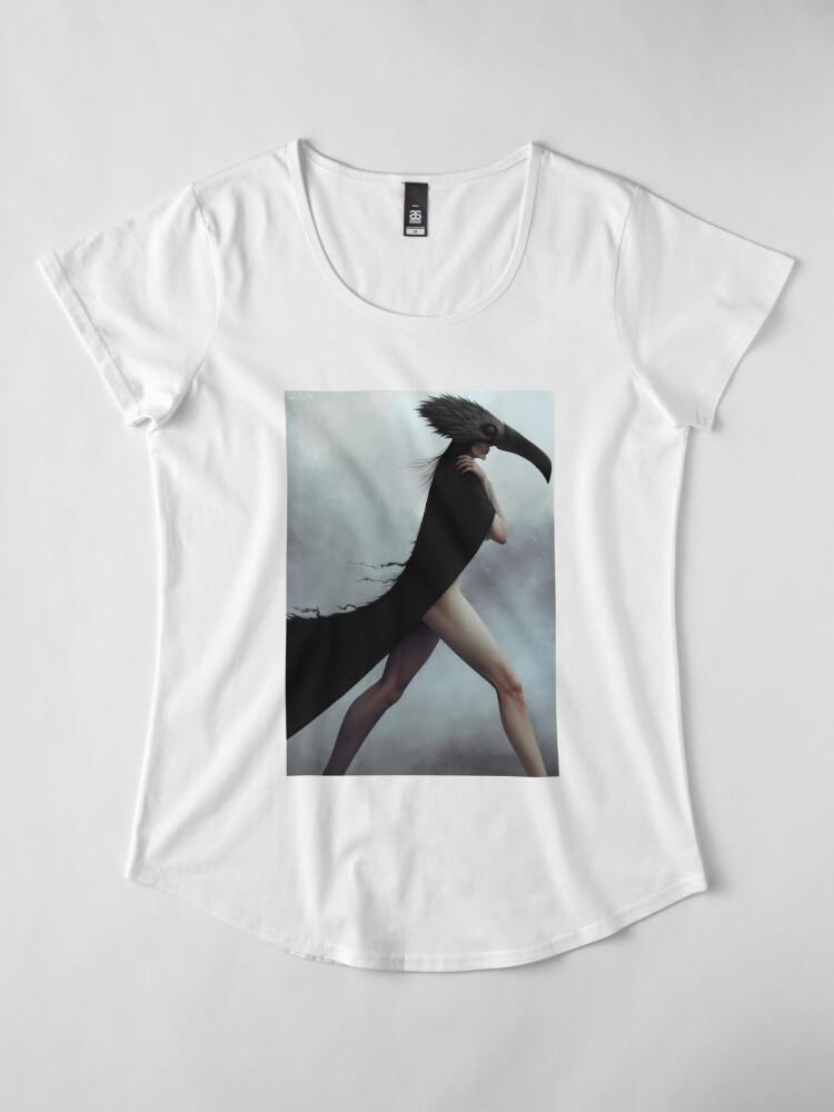 Alternate view of Dark noir crow illustration Premium Scoop T-Shirt