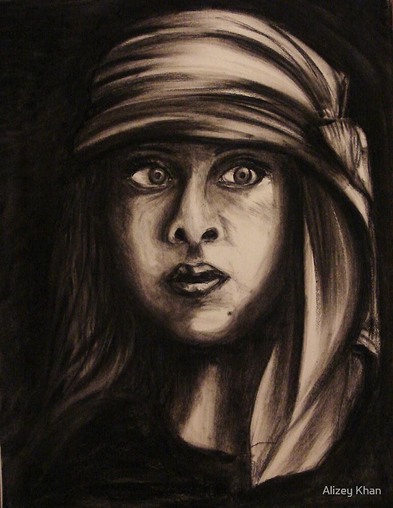 Self Portrait with Scarf by Alizey Khan