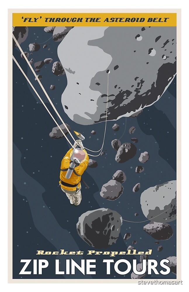 Zipline through the Asteroid Belt by stevethomasart