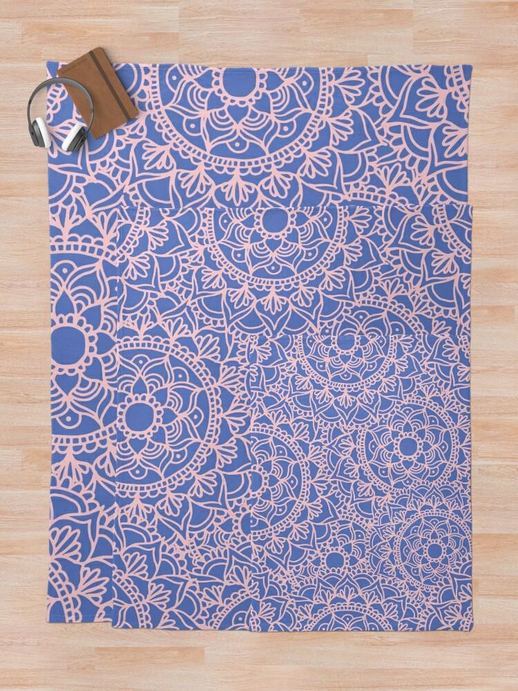 Alternate view of Pink and Mauve Mandala Pattern Throw Blanket
