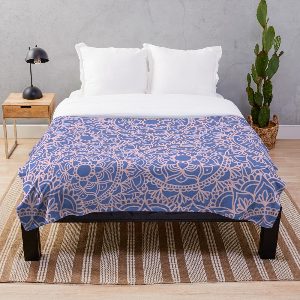 Pink and Mauve Mandala Pattern Throw Blanket
