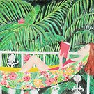 Tropical Hammock, Reading a book in Palm paradise, watercolor and acrylic painting by Magenta Rose Designs by MagentaRose