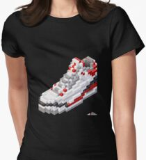 3D 8-bit basketball shoe 3 Women's Fitted T-Shirt