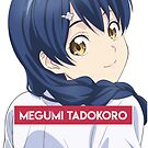 Megumi Tadokoro roter Hintergrund mit Text von James G