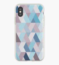 Mauve Blue Geometry V iPhone Case