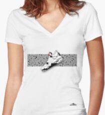8-bit basketball shoe 4 T-shirt Women's Fitted V-Neck T-Shirt