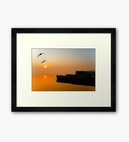 The Holy Ganga and the Sunrise Framed Print