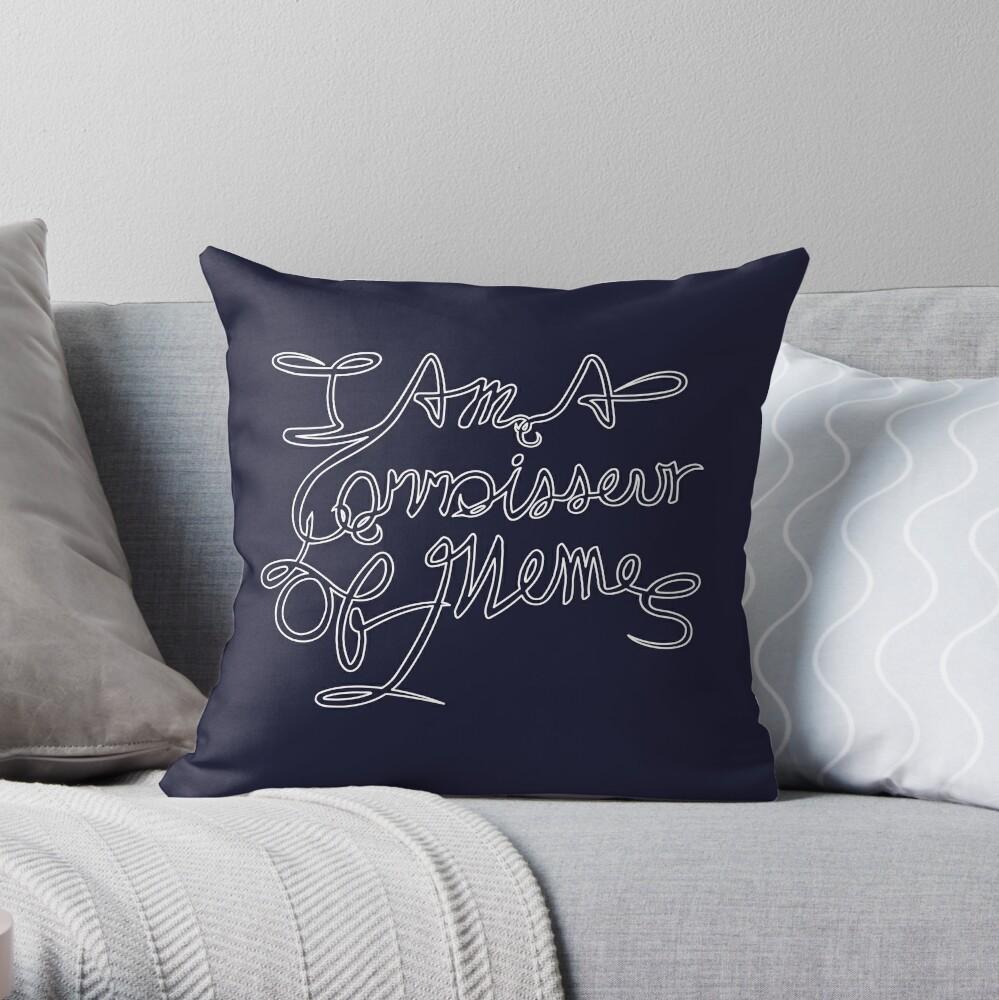Connoisseur of Memes - White Outline Throw Pillow