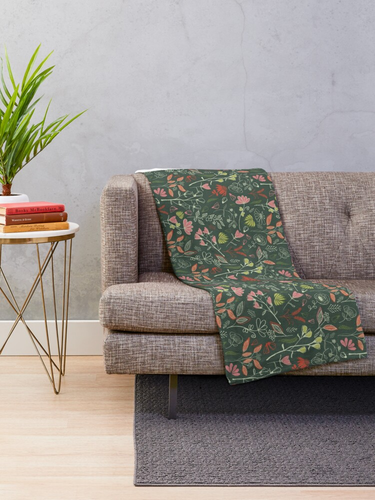 Alternate view of Glowy bosque forest floral pattern Throw Blanket