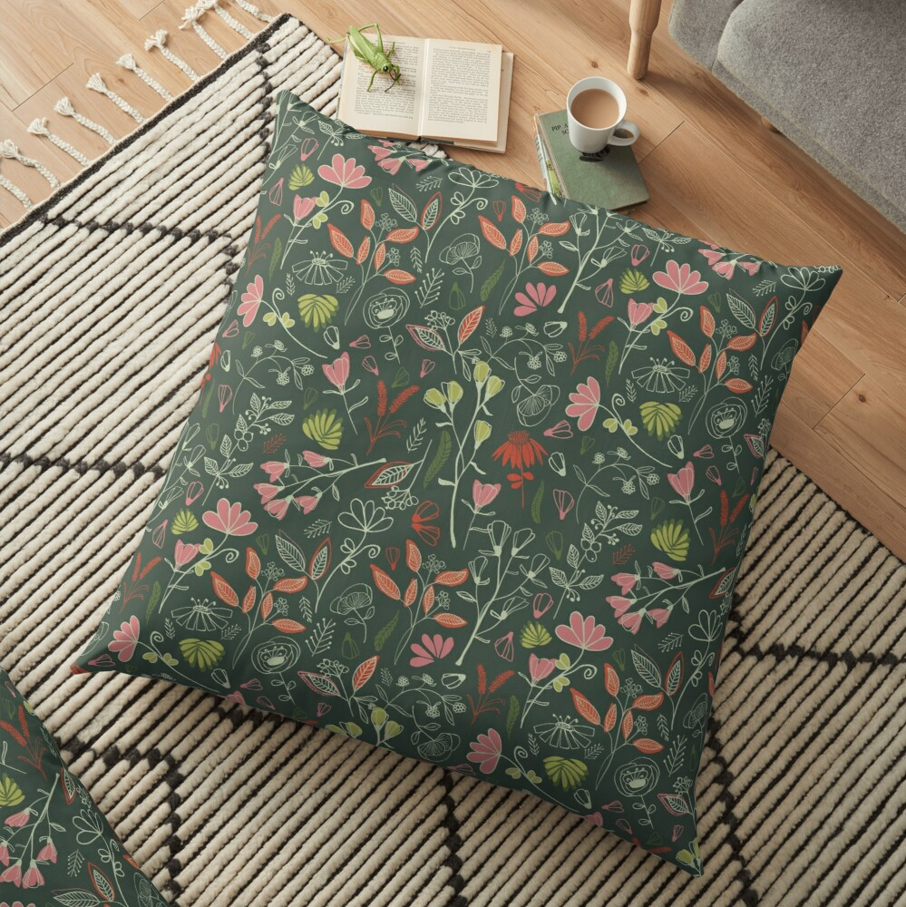 Glowy bosque forest floral pattern Floor Pillow