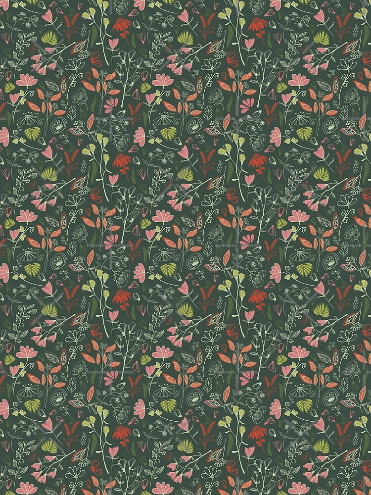 Glowy bosque forest floral pattern by alextilalila