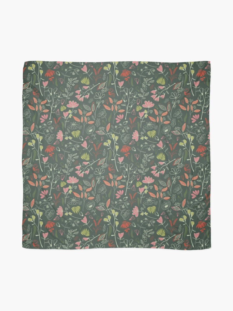 Alternate view of Glowy bosque forest floral pattern Scarf