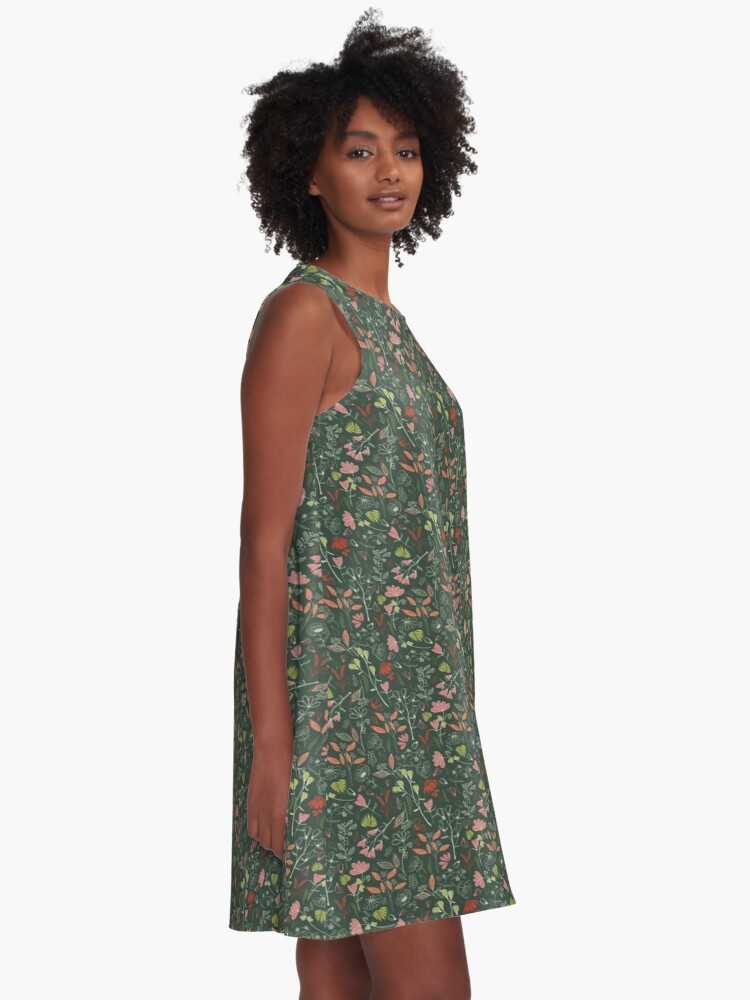 Alternate view of Glowy bosque forest floral pattern A-Line Dress