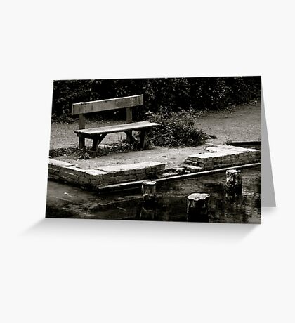 Empty bench at Silent Pool Greeting Card