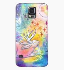 Jackalope der Nacht Regenbogen-Mond-Malerei Hülle & Klebefolie für Samsung Galaxy