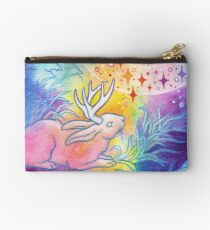 Jackalope of the Night | Rainbow Moon Painting Zipper Pouch