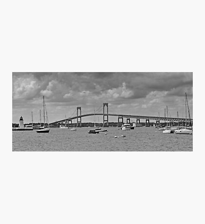 Newport Bay Bridge and Light at Goat Island  Photographic Print