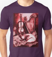 MUSICAL CAT AND OWL  Red White Unisex T-Shirt