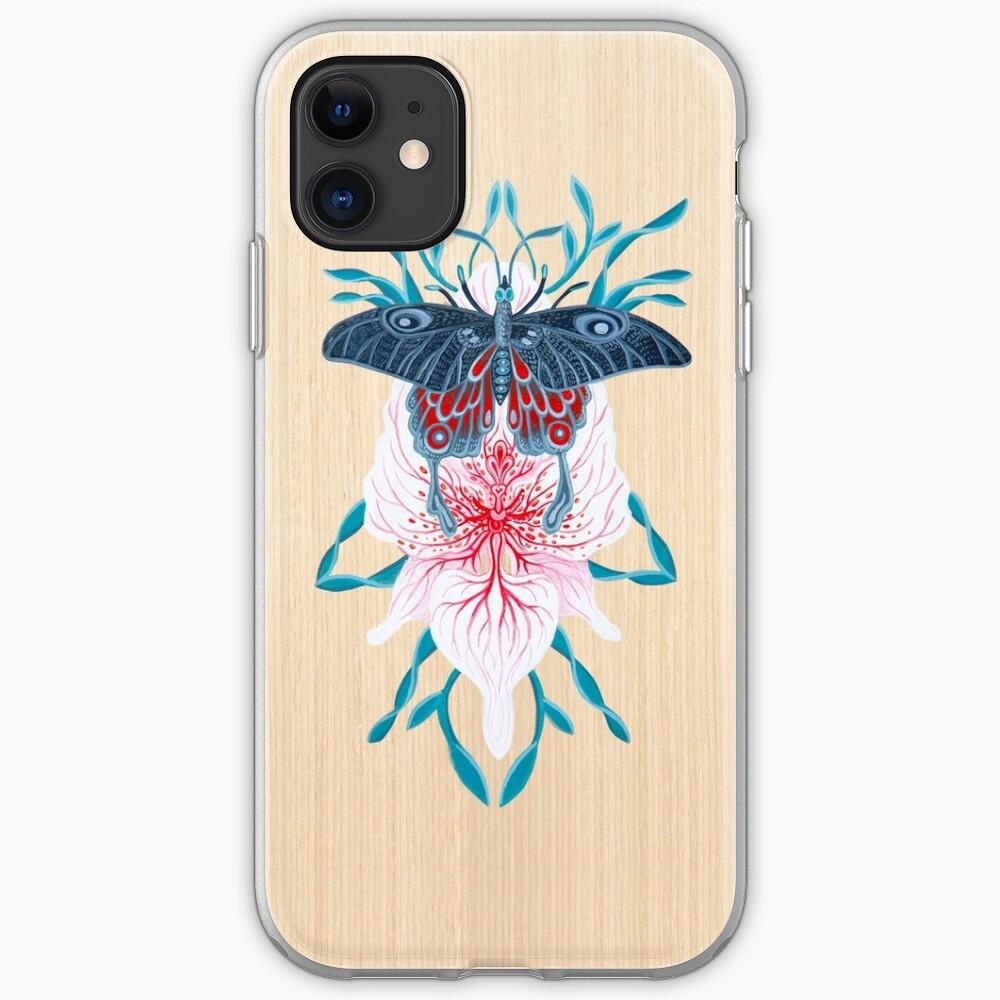 Pintura de tatuaje de orquídea mariposa en madera Funda y vinilo para iPhone