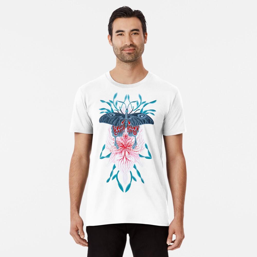 Pintura de tatuaje de orquídea mariposa en madera Camiseta premium