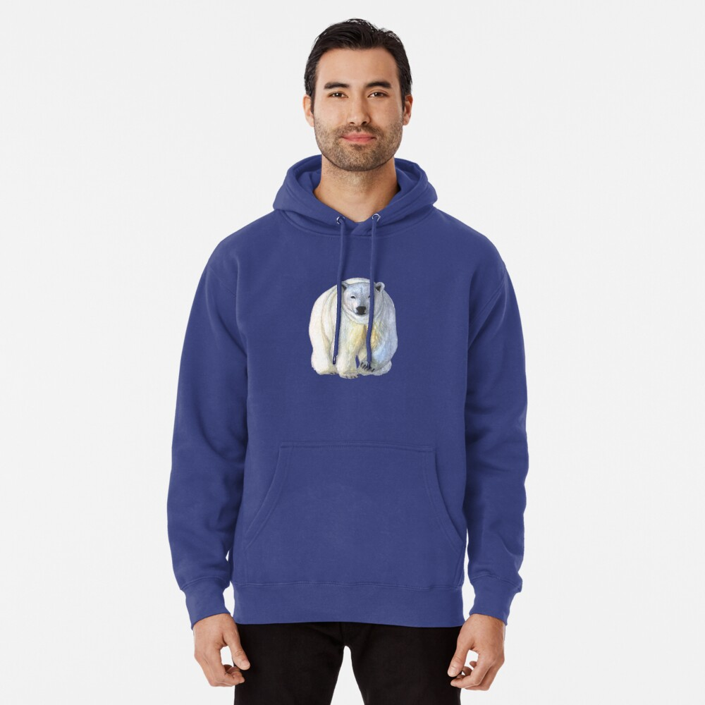 Polar bear in the icy dawn Pullover Hoodie