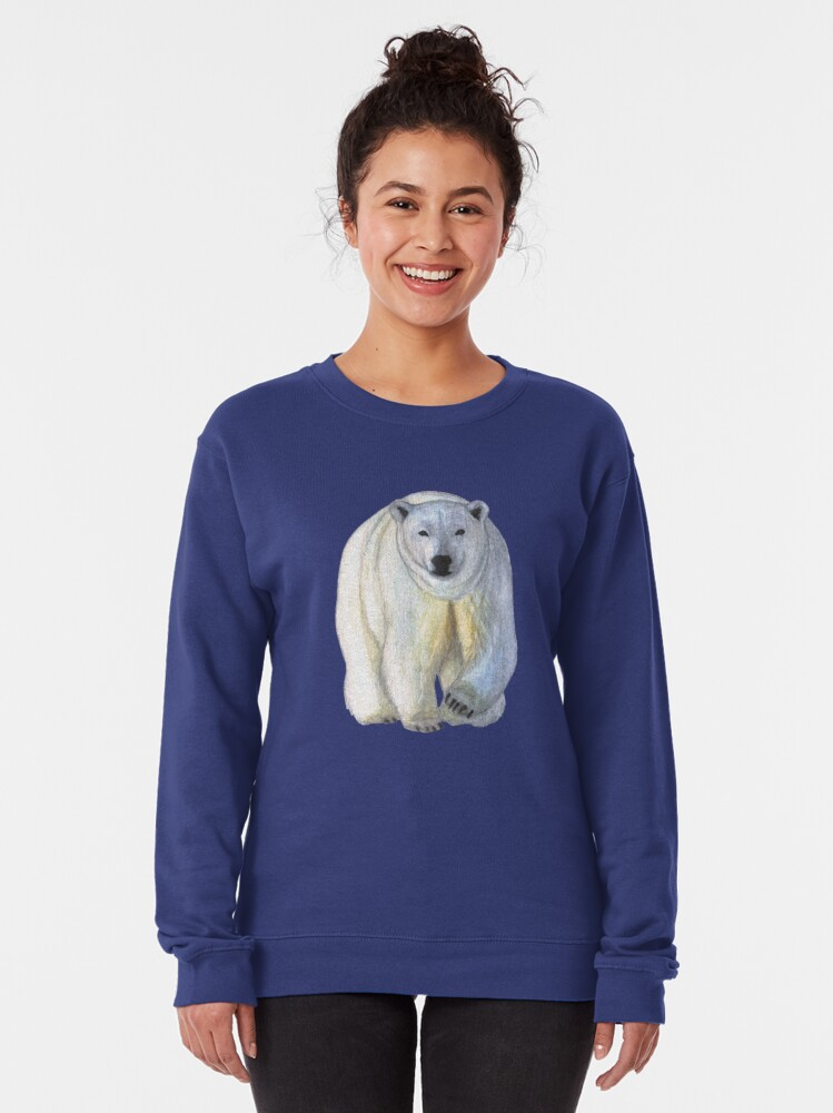 Alternate view of Polar bear in the icy dawn Pullover Sweatshirt