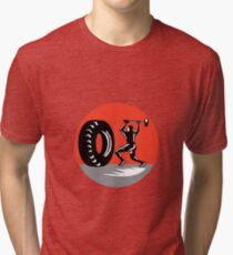 Tire Sledgehammer Workout Woodcut Tri-blend T-Shirt
