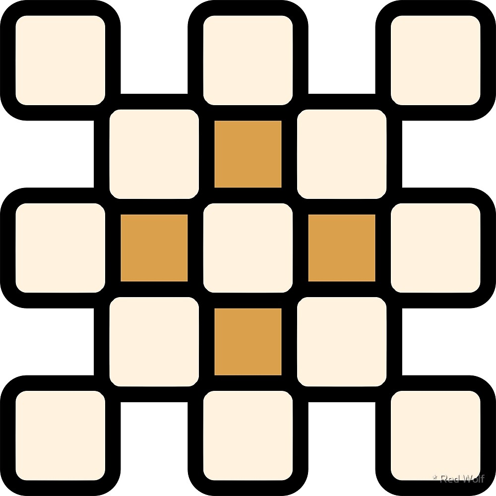 Geometric Pattern: Rounded Weave: Black/Cream/Gold by * Red Wolf