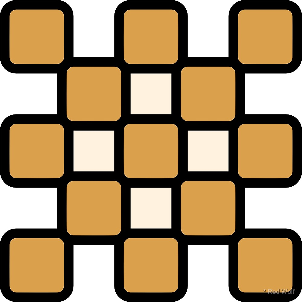 Geometric Pattern: Rounded Weave: Black/Gold/Cream by * Red Wolf