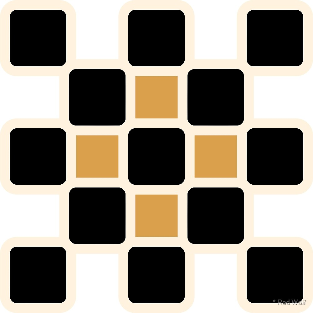 Geometric Pattern: Rounded Weave: Cream/Black/Gold by * Red Wolf