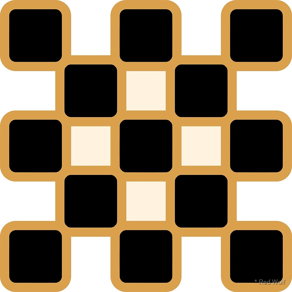 Geometric Pattern: Rounded Weave: Gold/Black/Cream by * Red Wolf