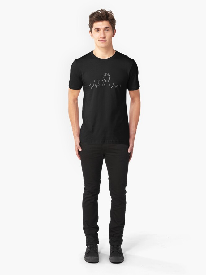 Alternate view of Heartbeat Rick and Morty Slim Fit T-Shirt