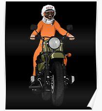 Der erste Hund im Weltraum Laika auf Motorrad  Poster