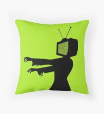 Zombie TV Guy by Chillee Wilson Throw Pillow