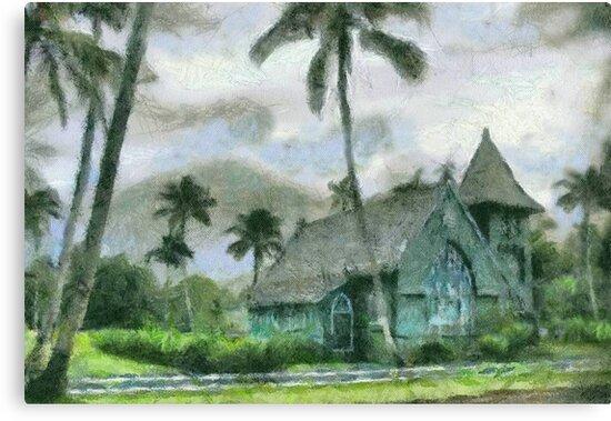 Hanalei Church, Kauai by Joni  Rae