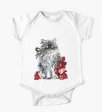 CAT KITTEN WITH RED ROSES ,Black and White One Piece - Short Sleeve