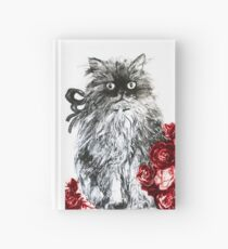 KITTEN WITH RED ROSES ,Black and White Hardcover Journal
