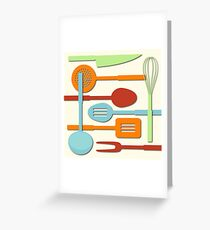 Kitchen Colored Utensil Silhouettes on Cream III Greeting Card