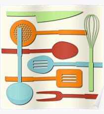 Kitchen Colored Utensil Silhouettes on Cream III Poster