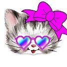 Retro Blick der niedlichen Katzenliebhaber-Herz-Sonnenbrille von funnytshirtemp